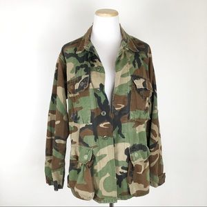 VTG USMC Camo Jacket Woodland Camouflage Faded